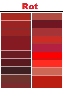 Rote RAL-Farben